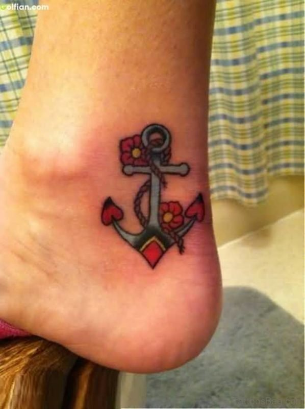 Brilliant Anchor Tattoo On Ankle