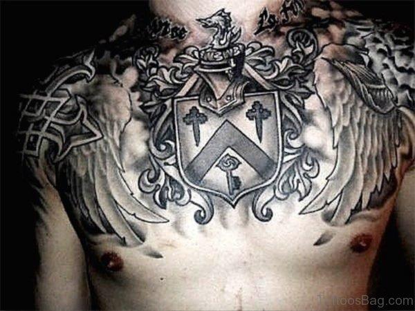 Brilliant Armour Tattoo On Chest