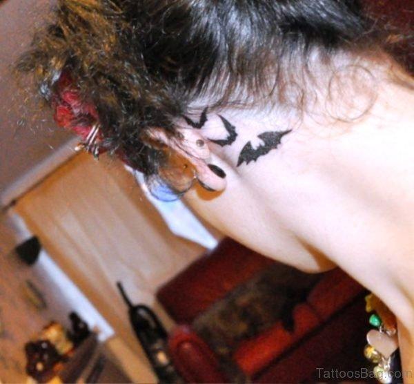 Brilliant Bats Tattoo Behind Ears