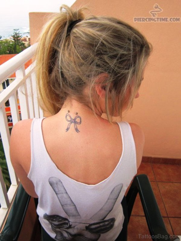 Brilliant Bow Tattoo On Neck