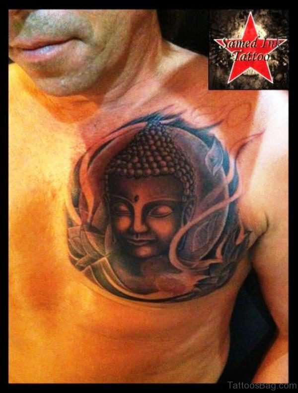Brilliant Buddha Tattoo On Chest