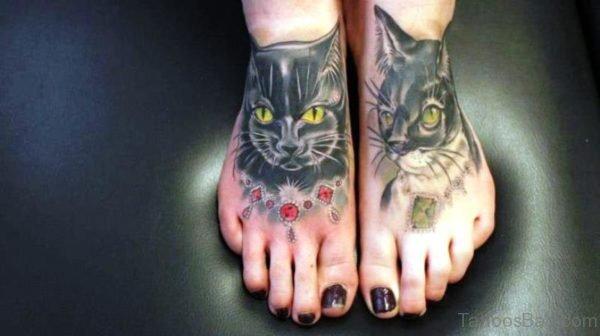 Brilliant Cats Tattoo On Feet