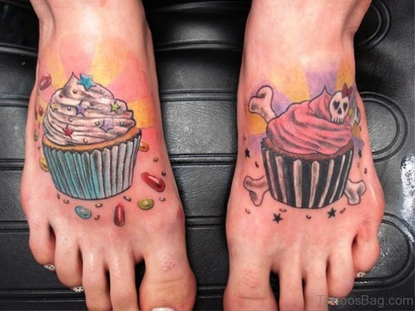 Brilliant Cupcakes Tattoos On Feet