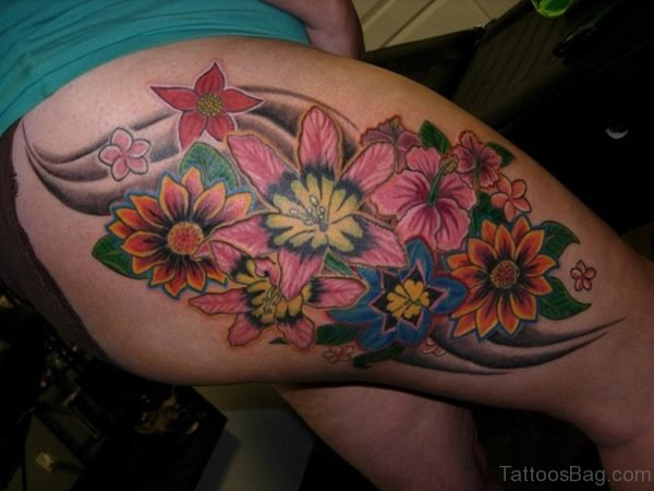 Brilliant Flower Tattoo On Thigh