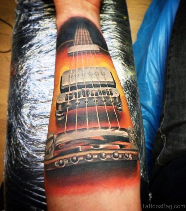 Brilliant Forearm Guitar Tattoo