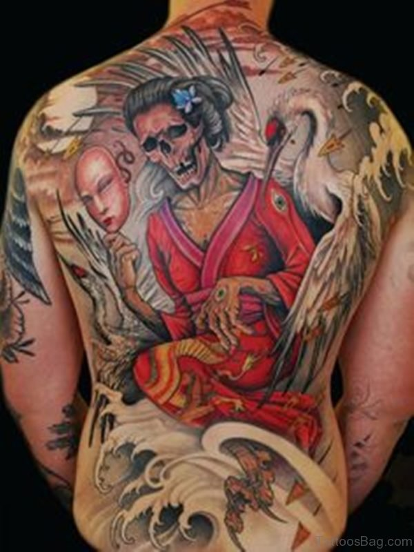 Brilliant Geisha Tattoo On back