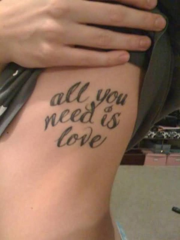 Brilliant Love Wording Tattoo On Rib