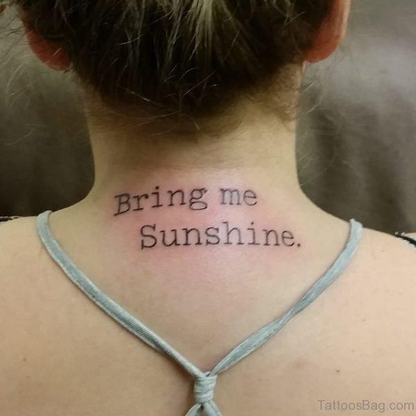 Bring Me Sunshine Tattoo On Neck