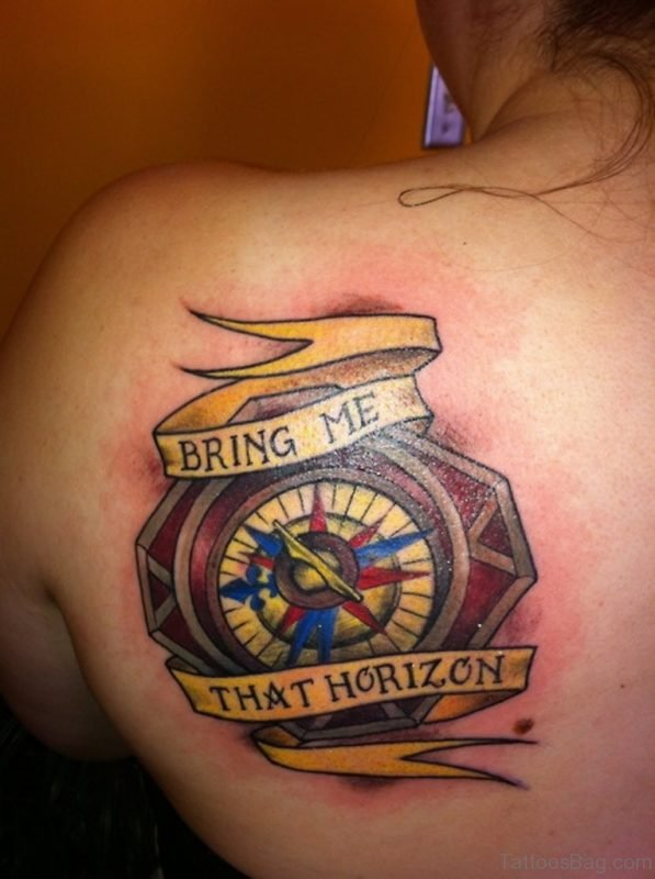 Bring Me That Horizon Compass Tattoo On Back Shoulder