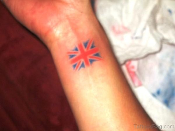 British Flag Tattoo On Wrist