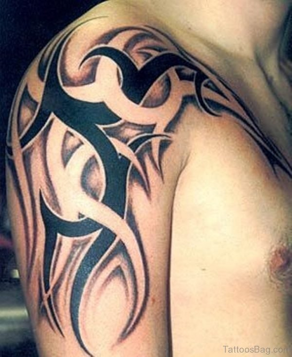 Brown And Grey Tribal Tattoo Shoulder