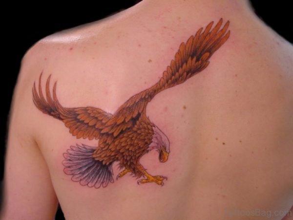 Brown Eagle Tattoo On Back