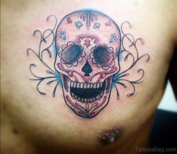 Brown Ink Sugar Skull Tattoo On Chest