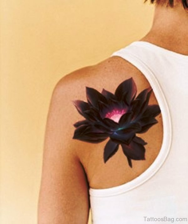 Brown Lotus Flower Tattoo
