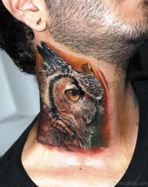 Brown Owl Tattoo On Neck