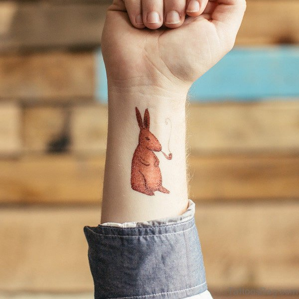 Brown Rabbit Smoking Tattoo