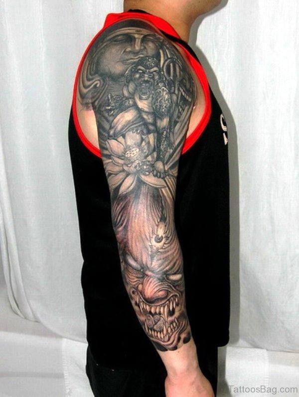 Buddha And Devil Sleeve Tattoo