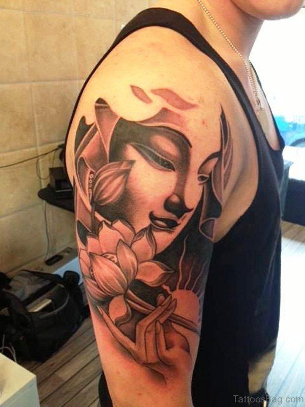 Buddha And Lotus Tattoo 1