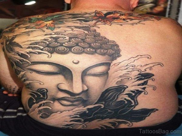 Buddha And Waves Tattoo On Back