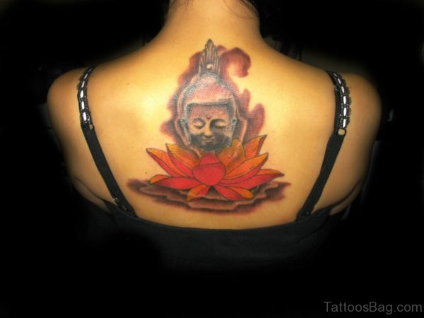 Buddha Face Tattoo With Red Lotus