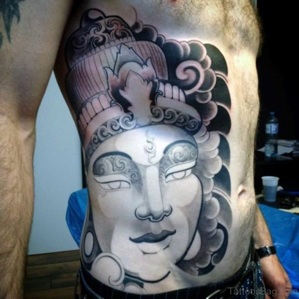 Buddha Portrait Tattoo On Rib