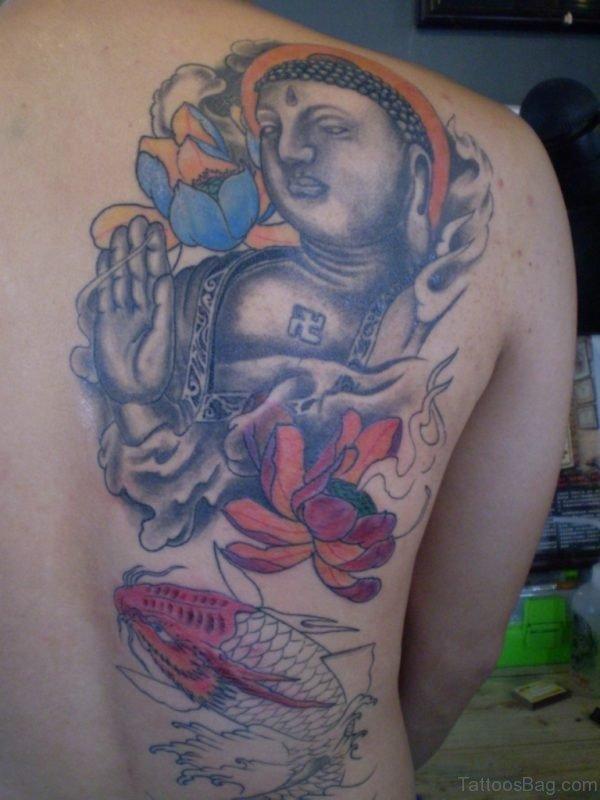 Buddha Statue With Lotus Koi Fish Tattoo On Back