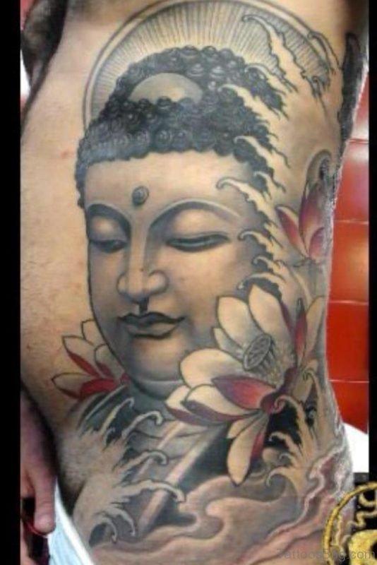Buddha Tattoo Design On Rib Side