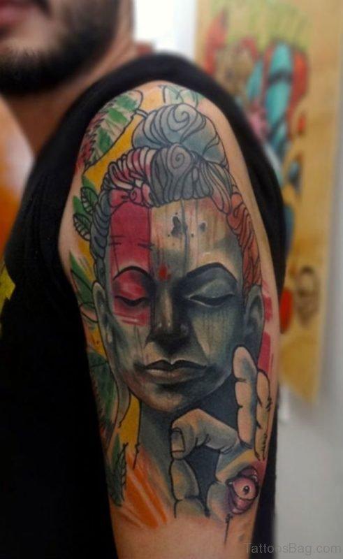 Buddha Tattoo Design On Shoulder