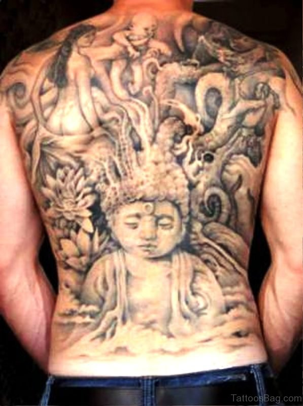 Buddha Tattoo On Back Image