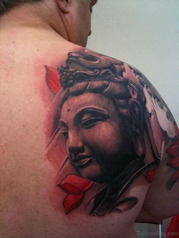 Buddha Tattoo On Back Shoulder