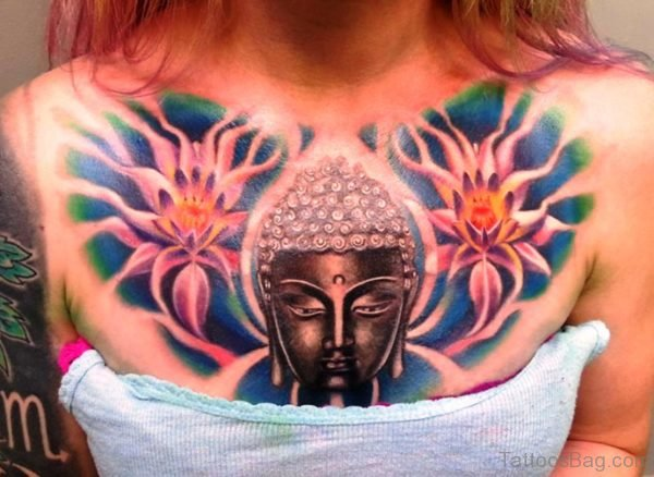 Buddha Tattoo On Chest For Women