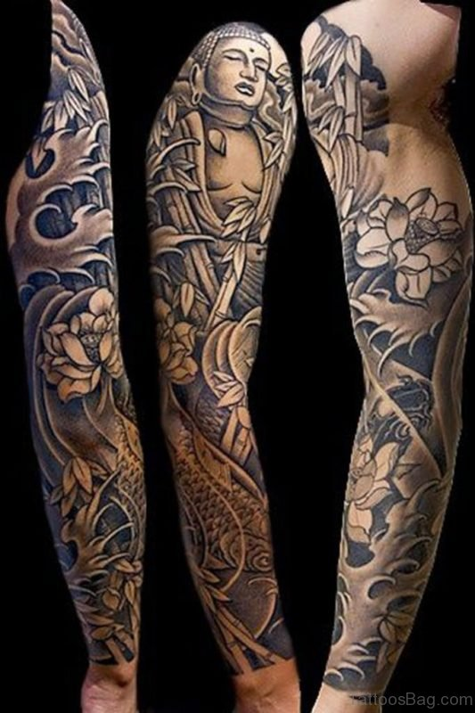 Buddha Tattoo On Full Sleeve