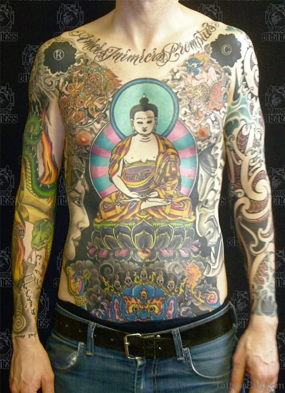 Buddha Tattoo On Lower Chest For Men