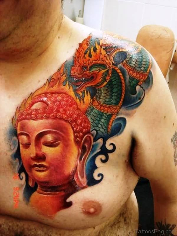 Buddha Tattoo With Dragon On Chest