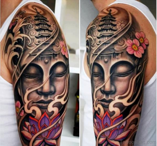 Buddha Tattoo With Flowers