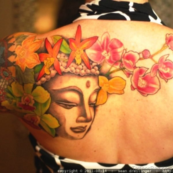 Buddha Tattoo With Flowers Design