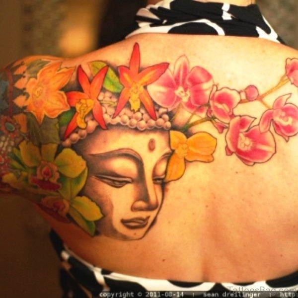 Buddha Tattoo With Flowers Design