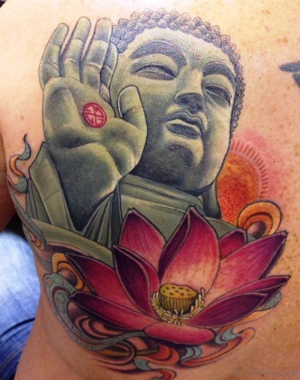 Buddha Tattoo With Red Lotus Design