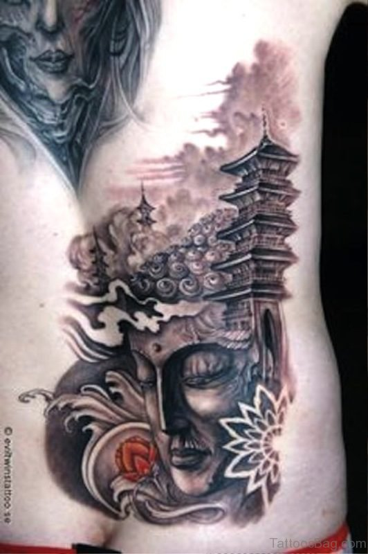 Buddha Tattoo With Temple On Back