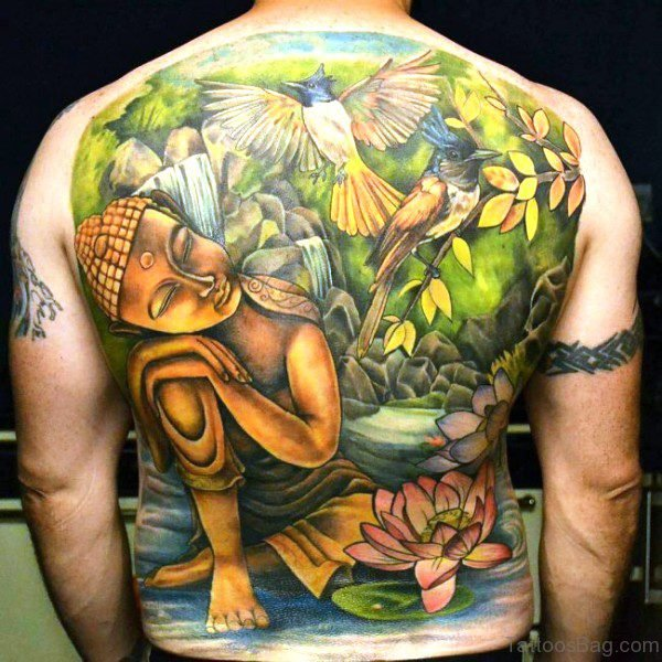 Buddha With Birds And Flowers Design