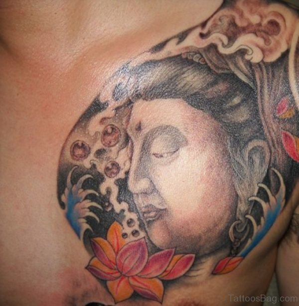 Buddha With Flower Tattoo On Chest