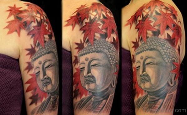 Buddha With Leaves Tattoo