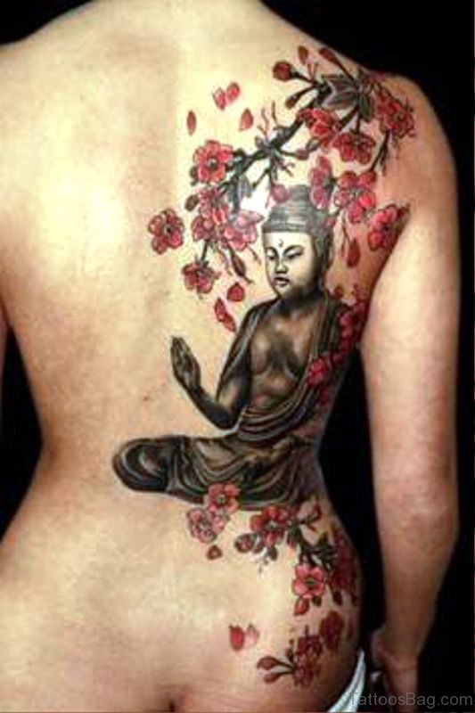 Buddha With Red Flowers Tattoo Design