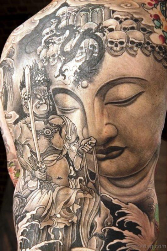 Buddha With Skulls On Back