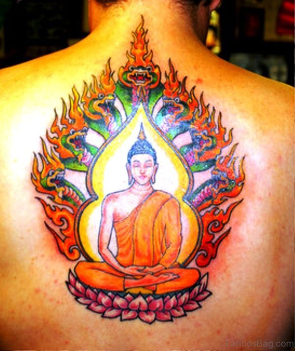 Buddha With Snakes Flames Design