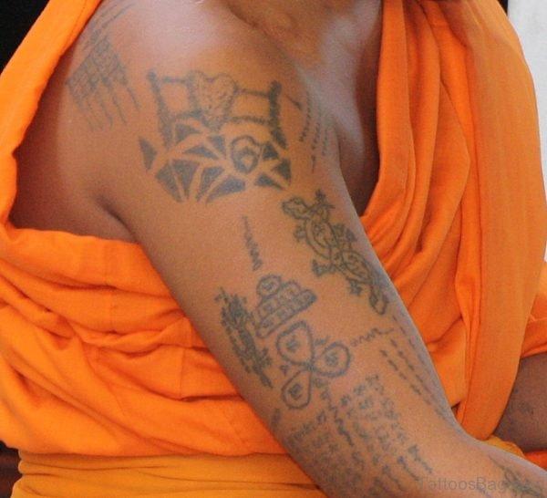 Buddhist Monk Tattoos On Shoulder