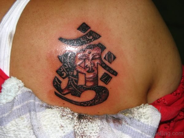 Buddhist Om Tattoo Design On Shoulder