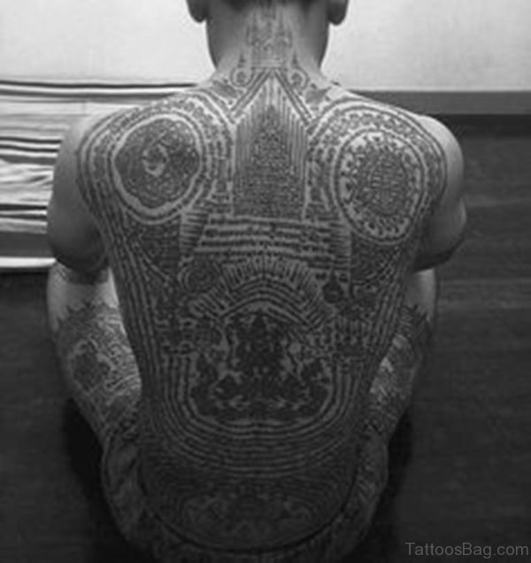 Buddhist Script Tattoo For Back
