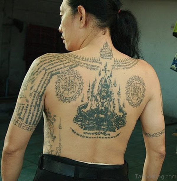 Buddhist Tattoo On Back Image