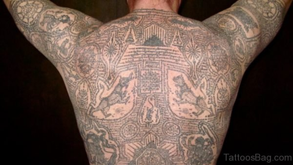 Buddhist Tattoo On Full Back